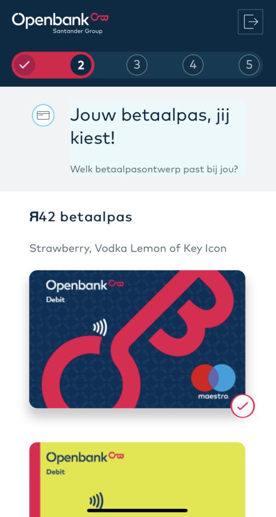 OpenBank - Betaalpas kiezen