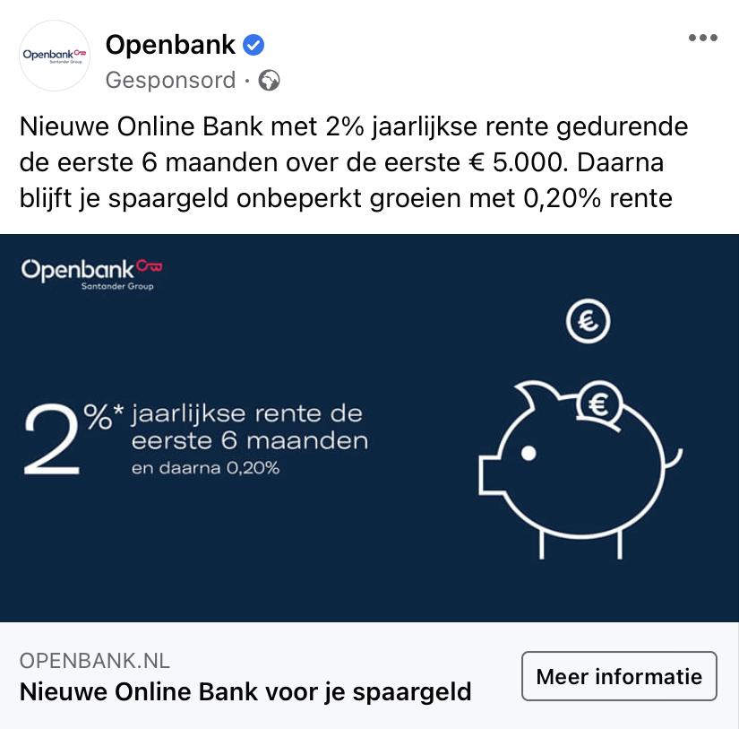OpenBank - Advertentie op Facebook