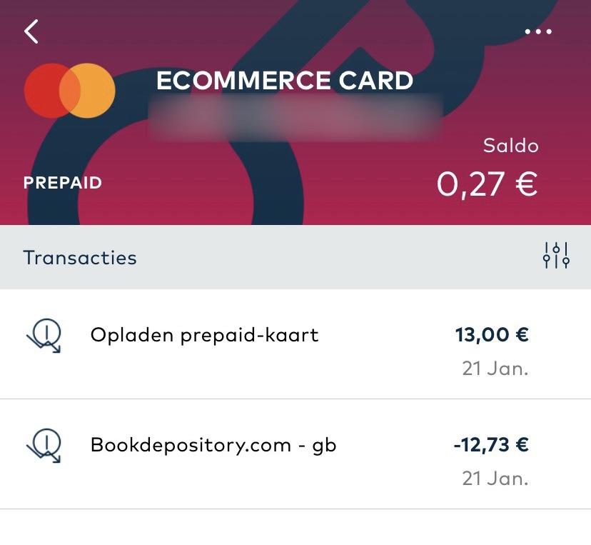 OpenBank - Prepaid transactieoverzicht